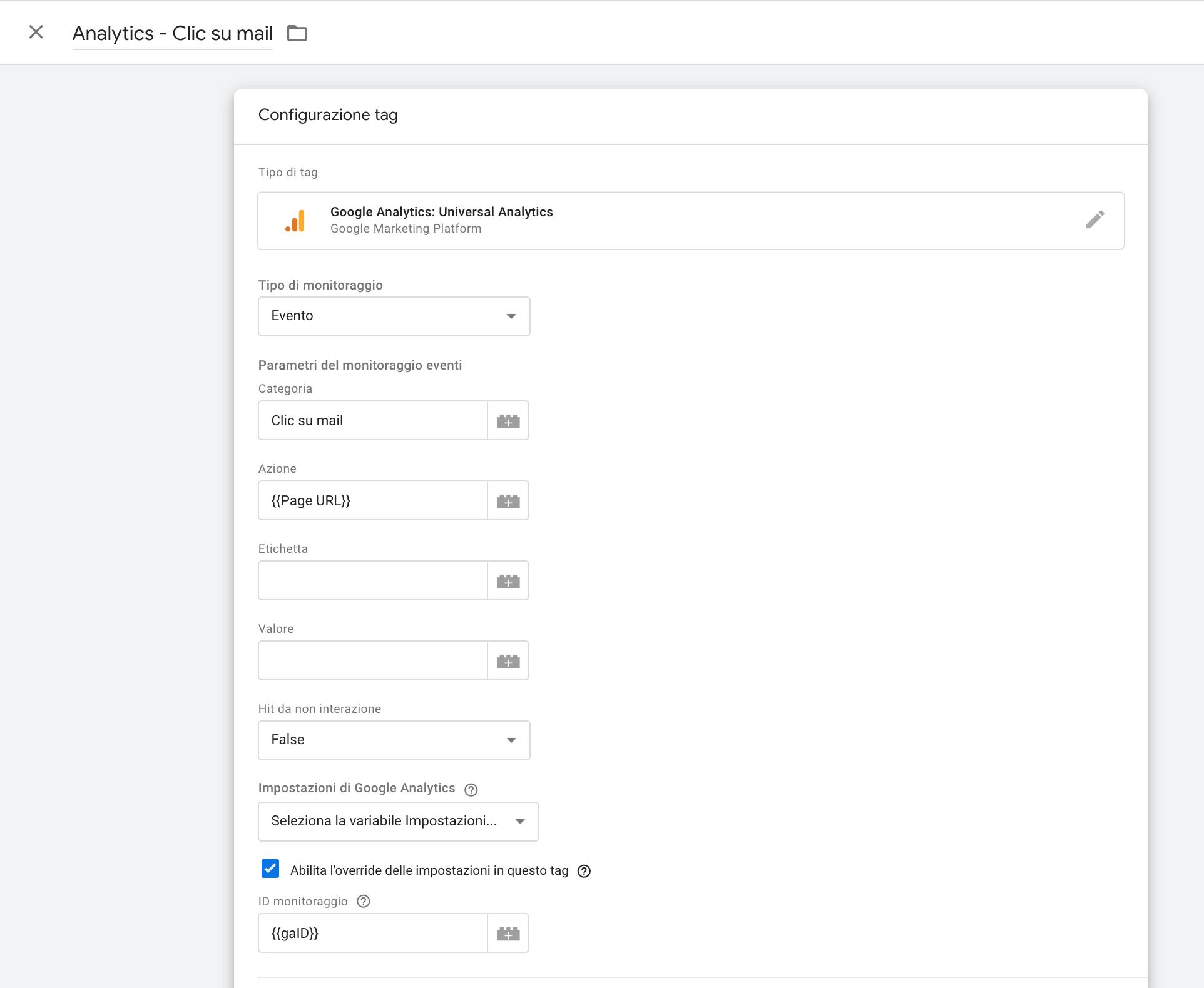 Configurazione tag in Google Tag Manager