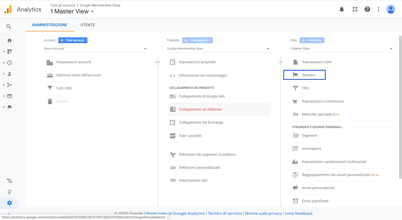 Amministratore - Obiettivi - Google Analytics