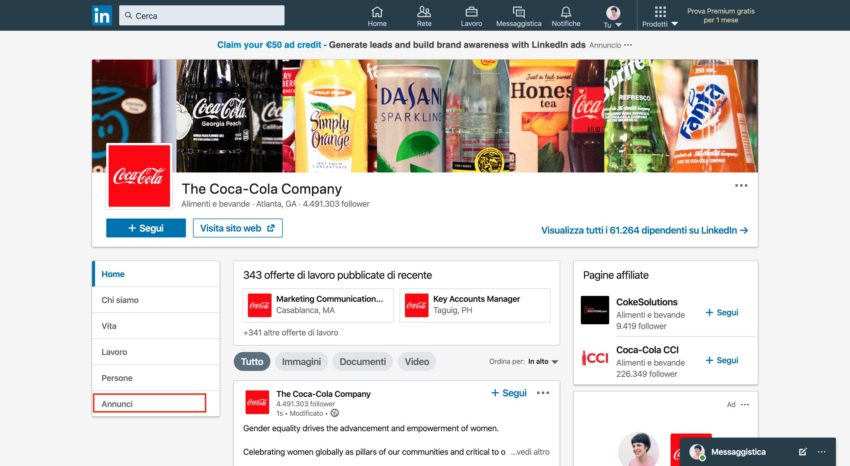LinkedIn Avdertising - Pagina azienda