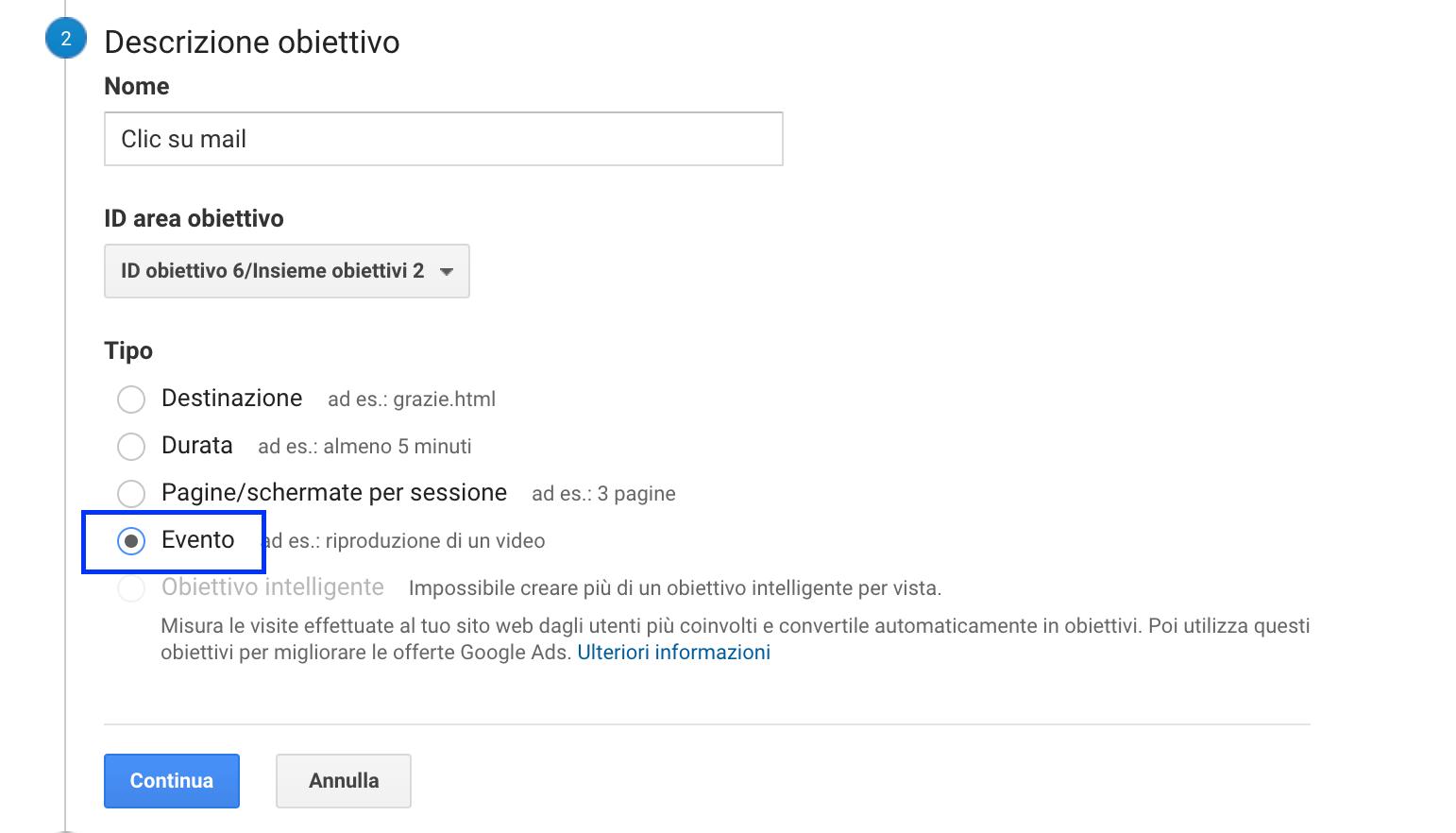 Descrizione obiettivi su Google Analytics
