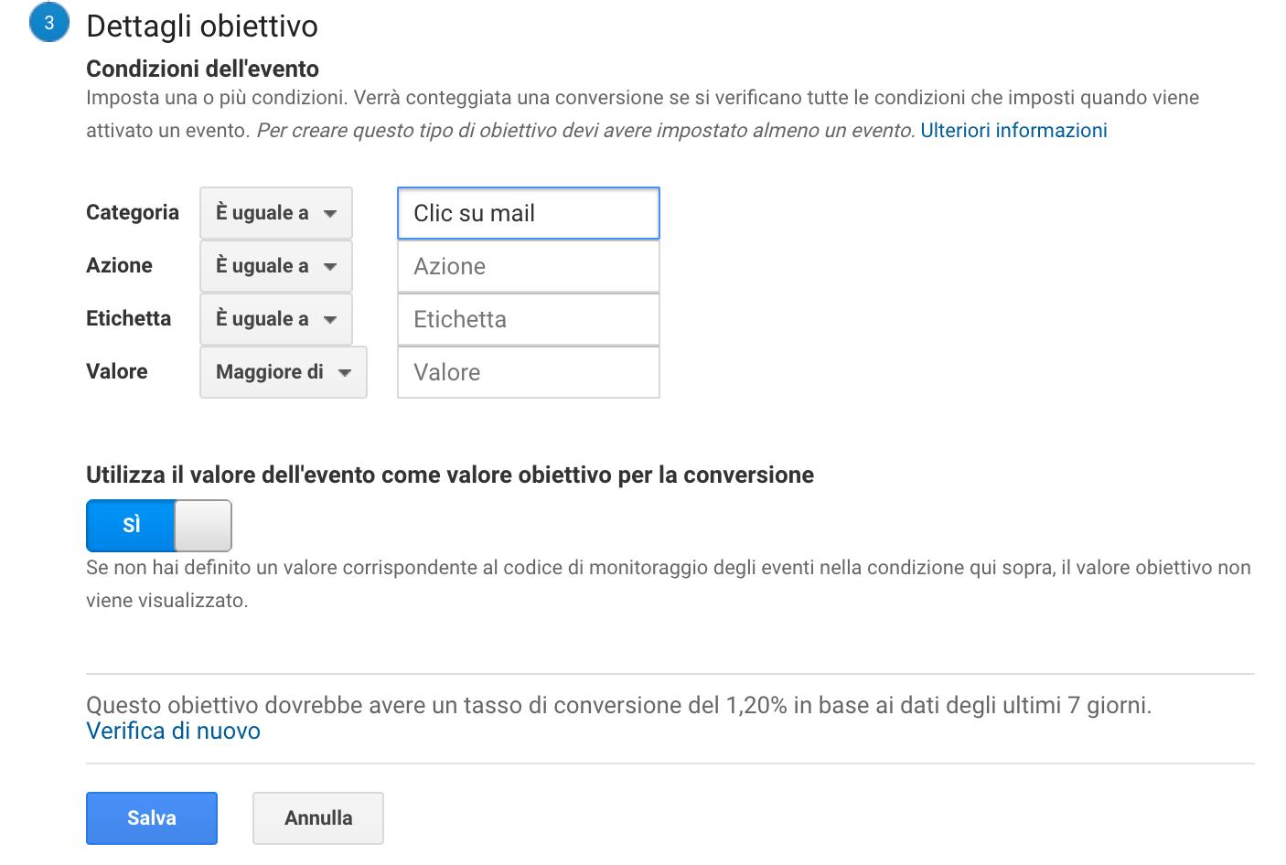 Dettagli obiettivo in Google Analytics