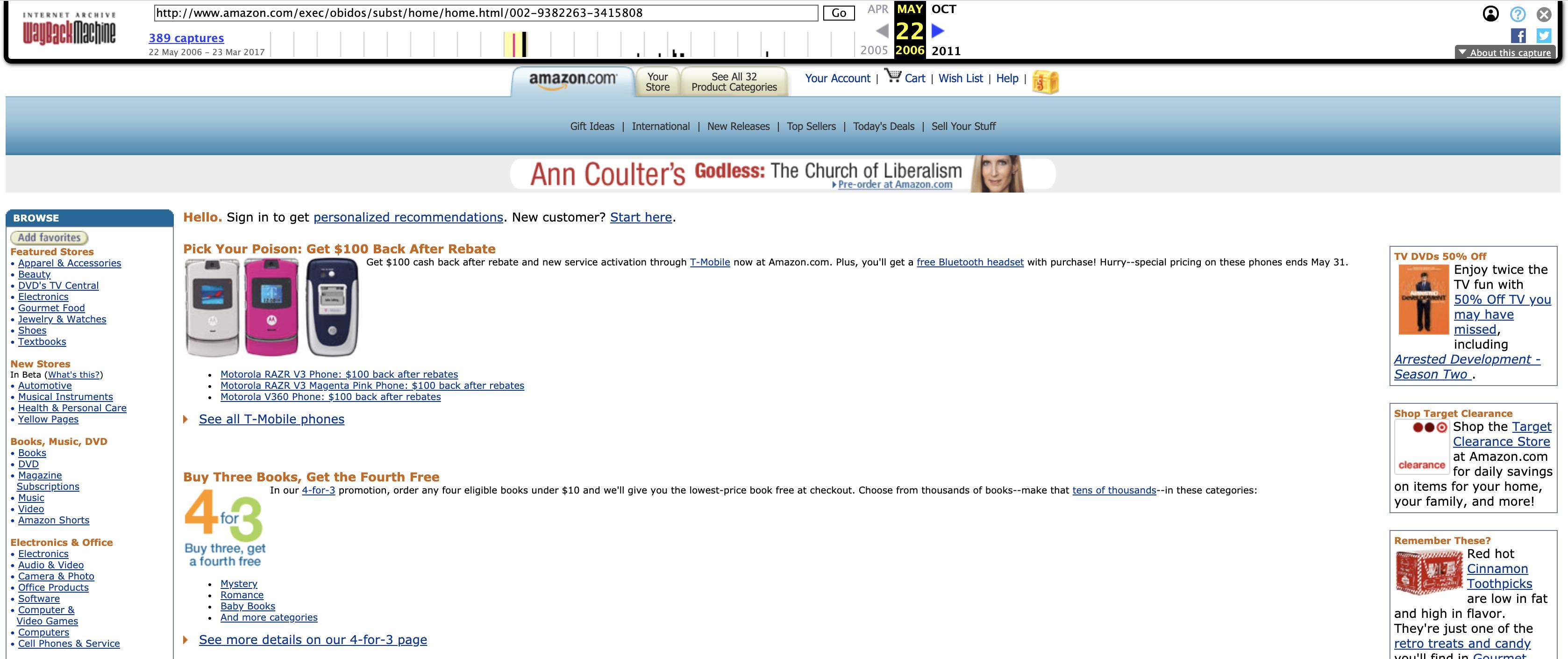 Wayback machine - Amazon nel 2006