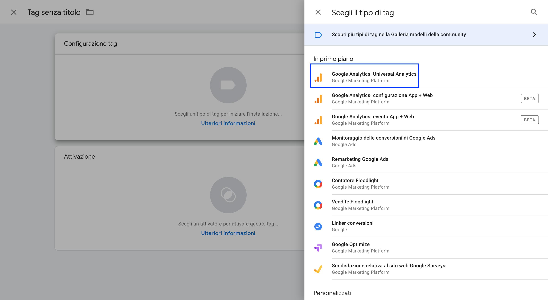 Creare un tag con Google Tag Manager