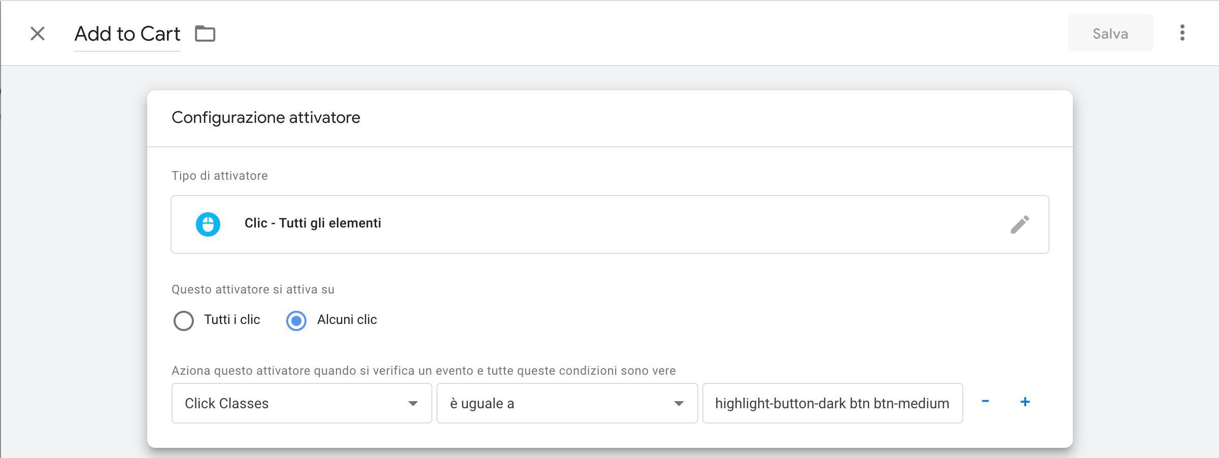 Configurazione attivatore Google Tag Manager