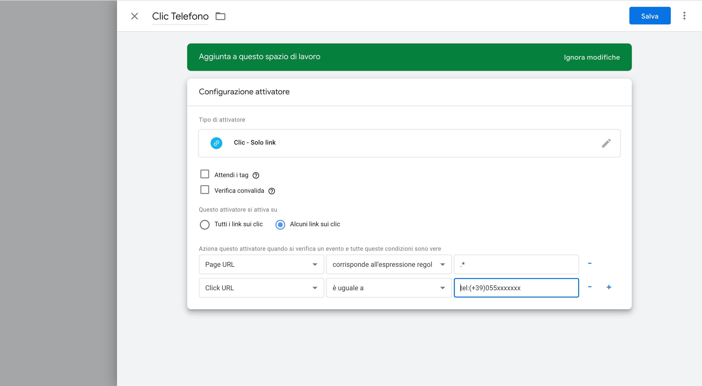 Configurazione tag Google Tag Manager